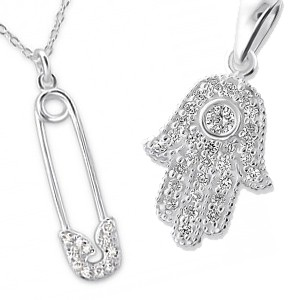 Sterling Silver Safety Pin And Hamsa pendants
