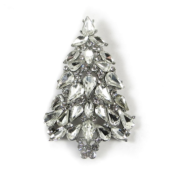 White Ice Xmas Tree Brooch