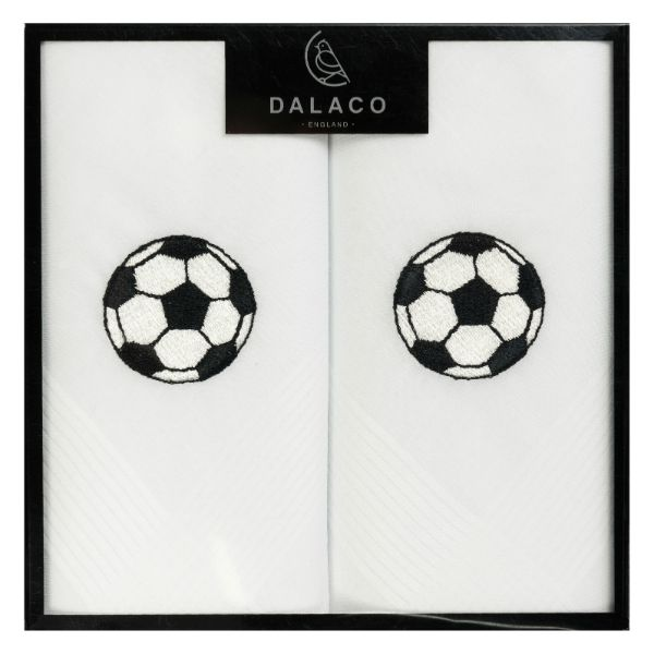 Football Embroidered White Cotton Handkerchief