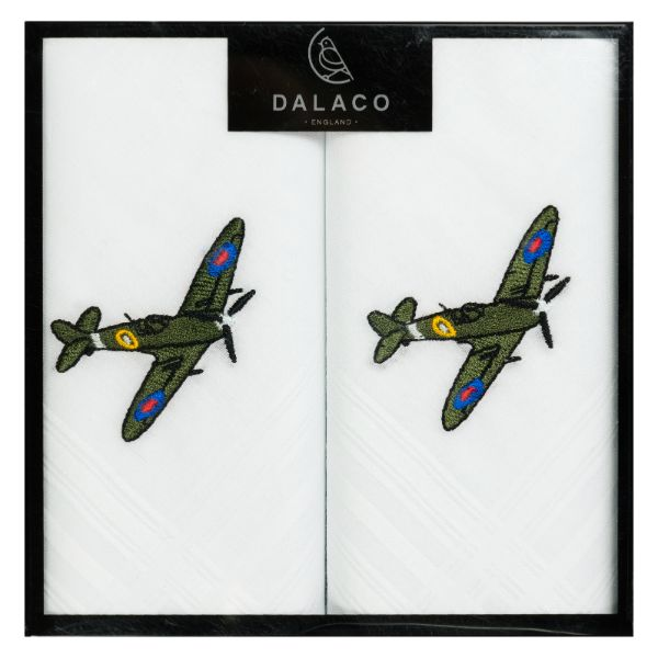 Spitfire Embroidered White Cotton Handkerchief