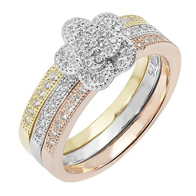 Pave Flower Stacker Ring