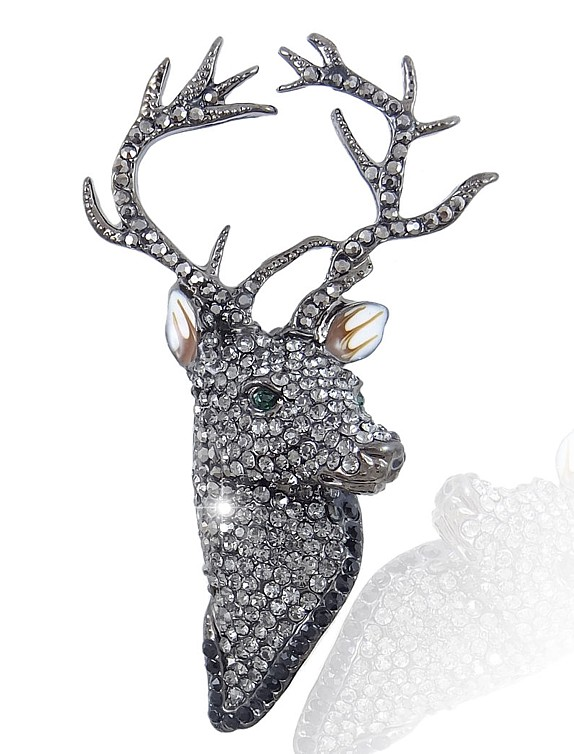 Jet Prince of the Forest Stag Brooch
