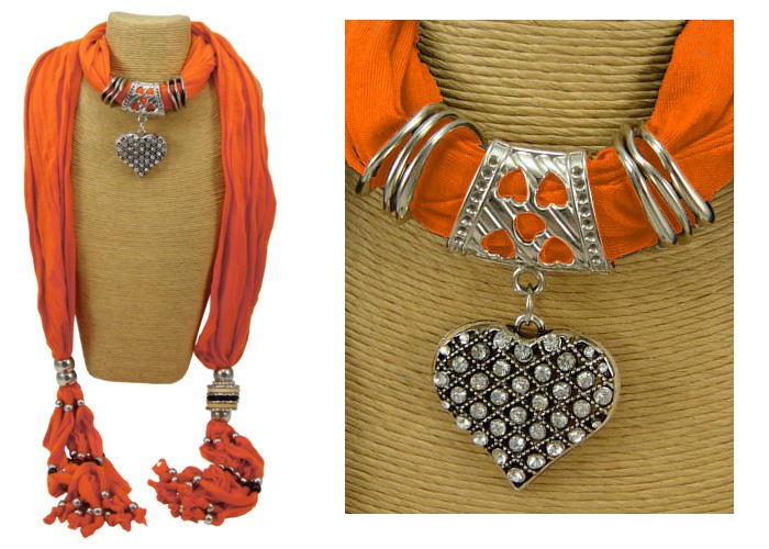 Bright Orange Rhinestone Heart Scarf