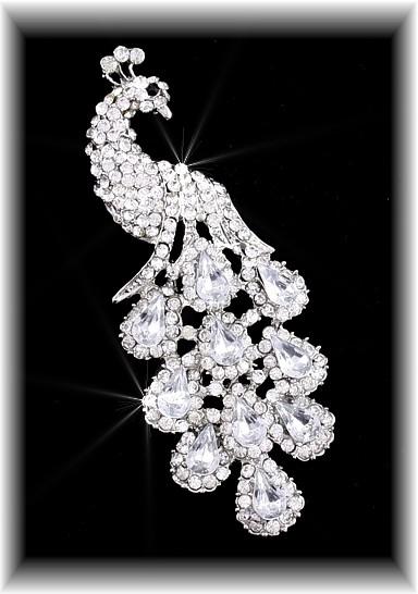 81f9b6241c7 Crystal Clear Peacock Brooch, Swarovski Crystal Brooches