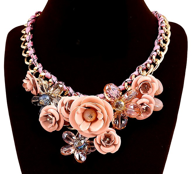 Blush Crystal Rose Necklace