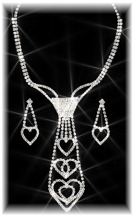 Crystal Hearts Tie Set