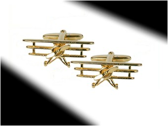 Golden Tri Plane Cuff Links