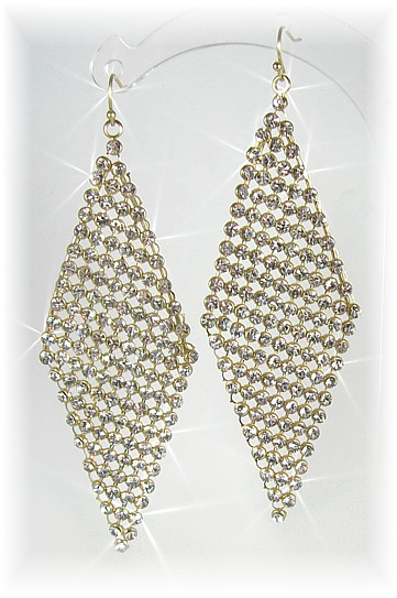 Deco Diamond Drop Earrings Gold