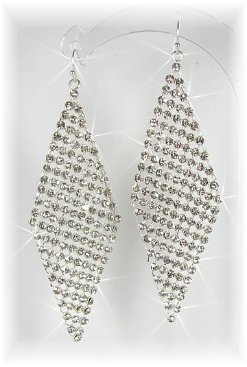 Deco Diamond Drop Earrings Silver