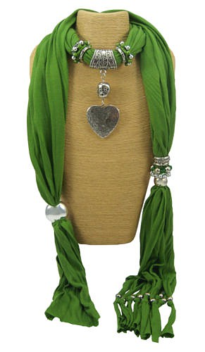 Green Heart Tassel Scarf