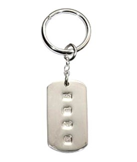 Hallmarked Dog Tag Keyring