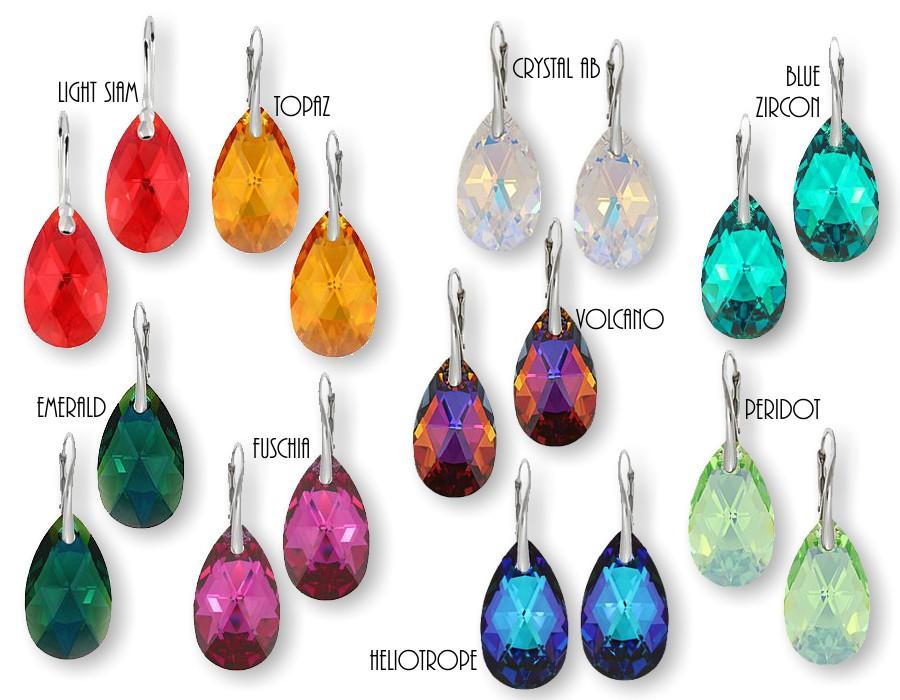 f95a06c83 Swarovski Crystal Peardrop Earrings, Sterling Silver Earrings