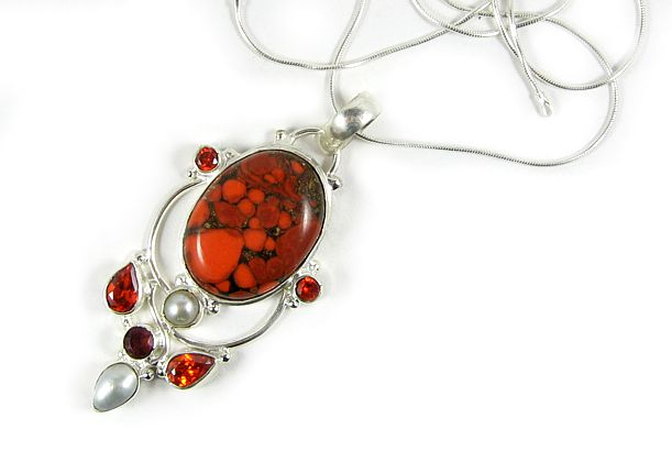 Pearls in Fire Necklace