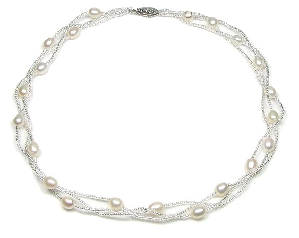 Pearl & Crystal Weave Necklace