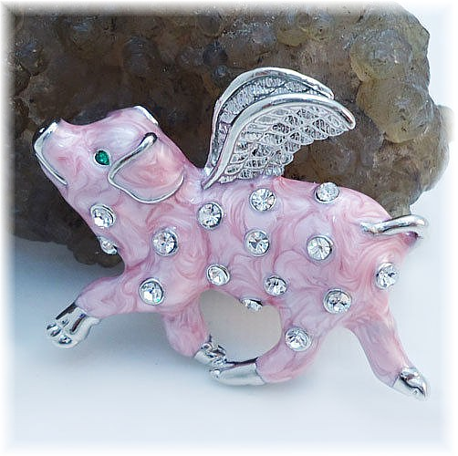 Pigs Might Fly Brooch Pink