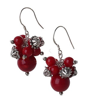 Red Coral Berry Earrings