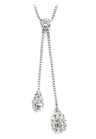 Swarovski Crystal Clear Teardrops Y Necklace