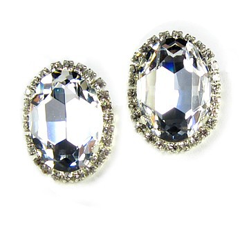 Swarovski Crystal Oval Clip Earrings
