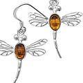 Amber Dragonfly Earrings
