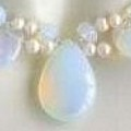 Blue Fire Opal & Freshwater Pearl Necklace