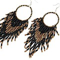 Jet Boho Bead Earrings