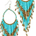 Turquoise Boho Beads Earrings
