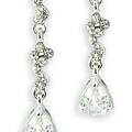 Crystal Pompadour Screw Back Earrings