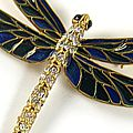 Deco Dragonfly Brooch Gold