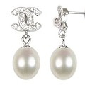 Designer Pearldrop Earrings White