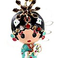 Blue Geisha Girl Keyring