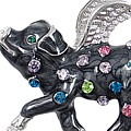 Pigs Might Fly Brooch Black