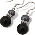 Onyx and Pearl Eight Earrings