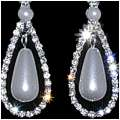 Pearl & Rhinestone Teardrop Earrings