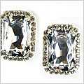 Swarovski Crystal Mini Rectangle Clip Earrings