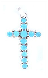 Turquoise Circles Cross