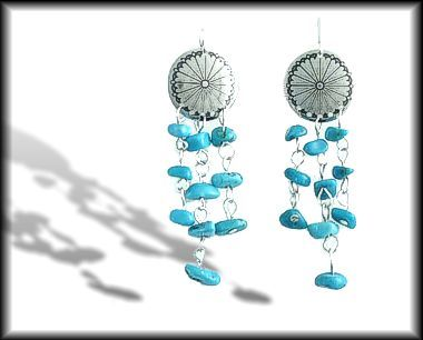 Turquoise Nuggets and Shield Earrings
